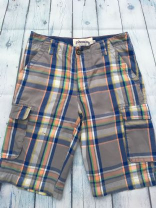 Johnnie B  blue and orange multi-coloured checked shorts size 26